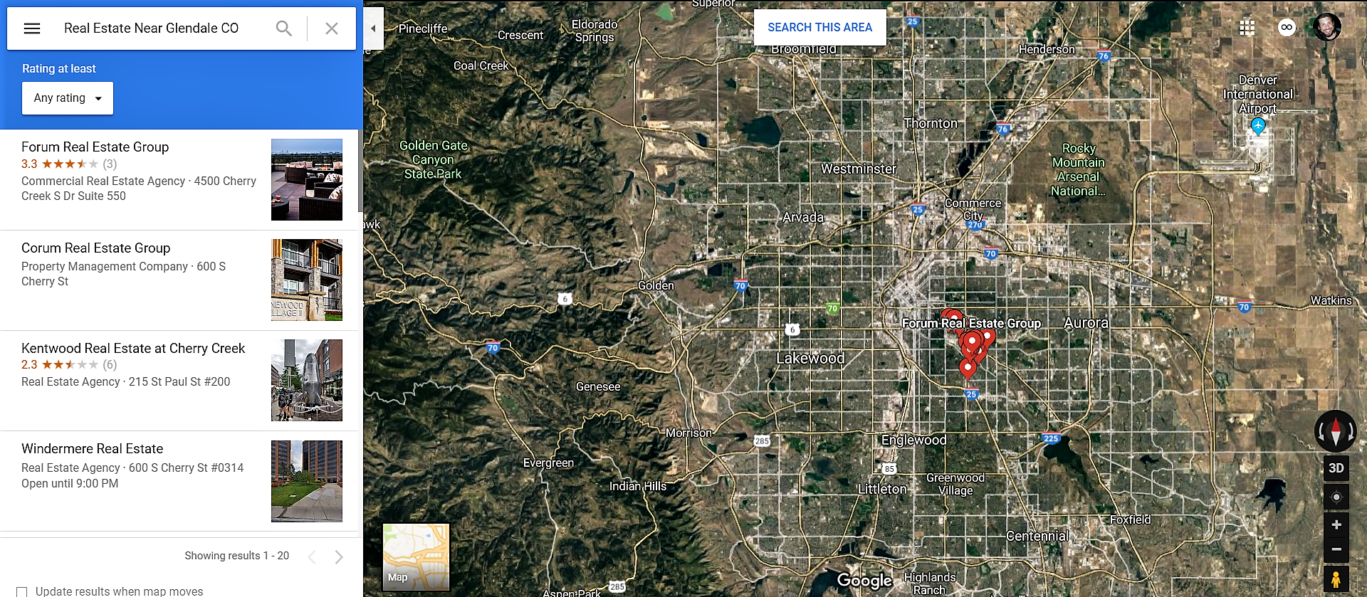 Glendale Colorado Google Maps Real Estate Realtors and Mortgage Loans