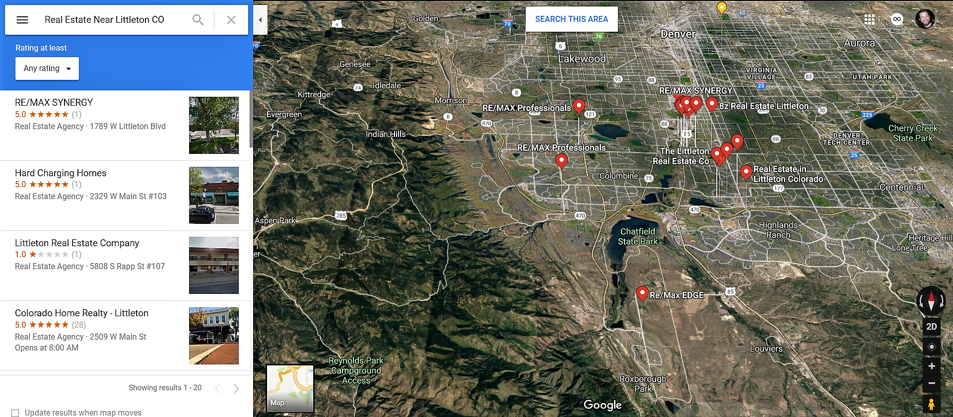 Littleton Colorado Google Maps Real Estate Realtors and Mortgage Loans