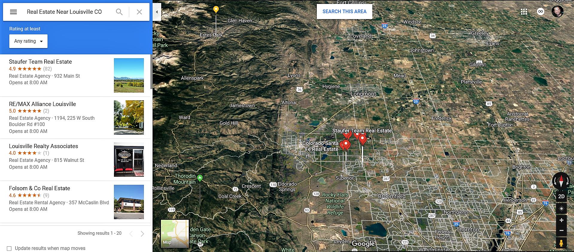 Louisville Colorado Google Maps Real Estate Realtors and Mortgage Loans