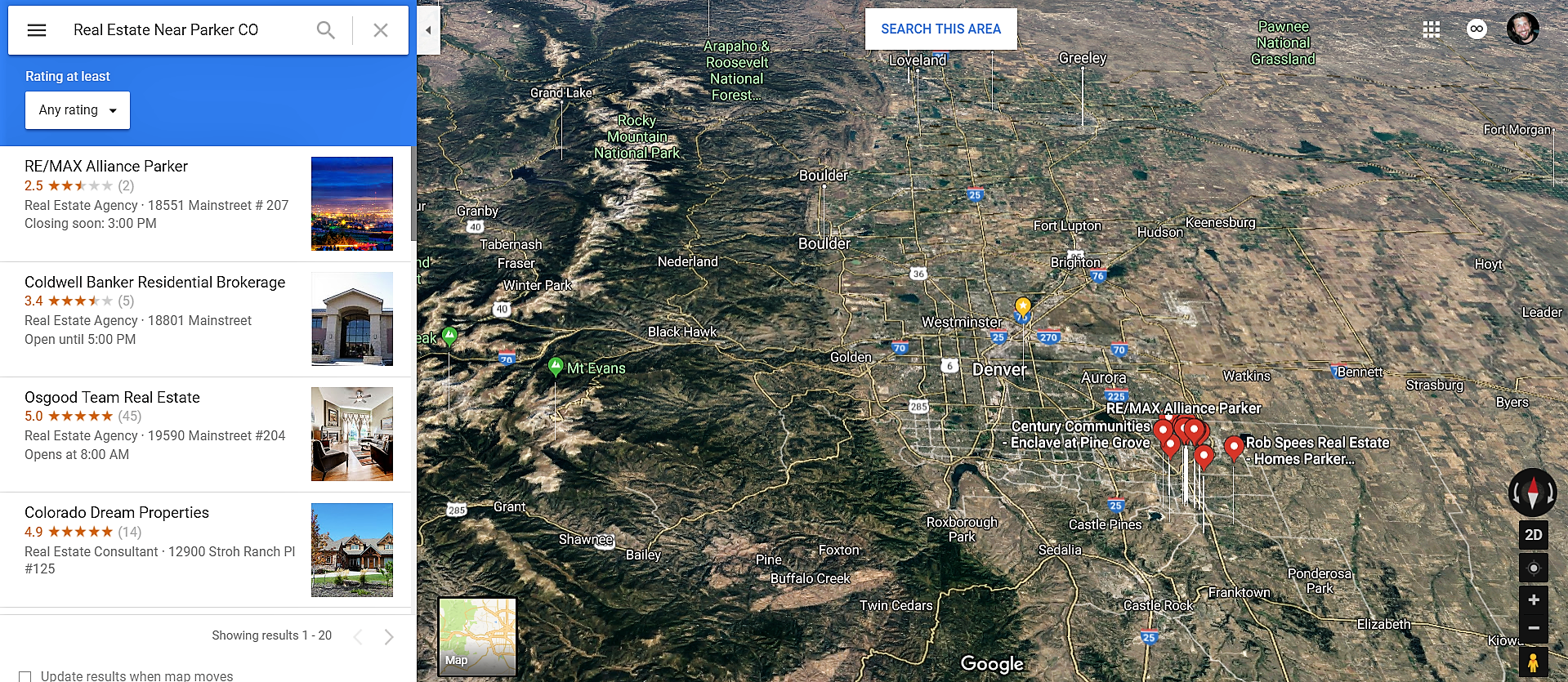 Parker Colorado Google Maps Real Estate Realtors and Mortgage Loans