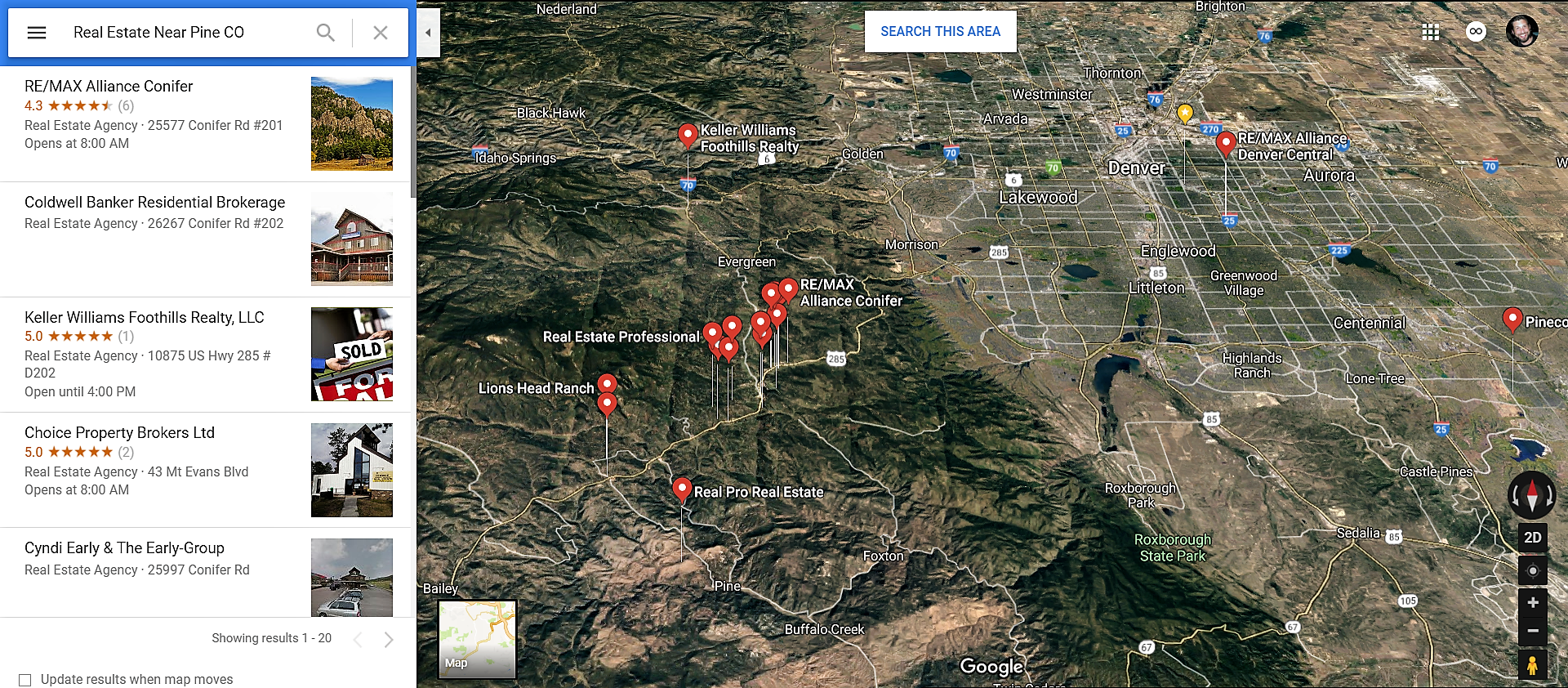 Pine Colorado Google Maps Real Estate Realtors and Mortgage Loans