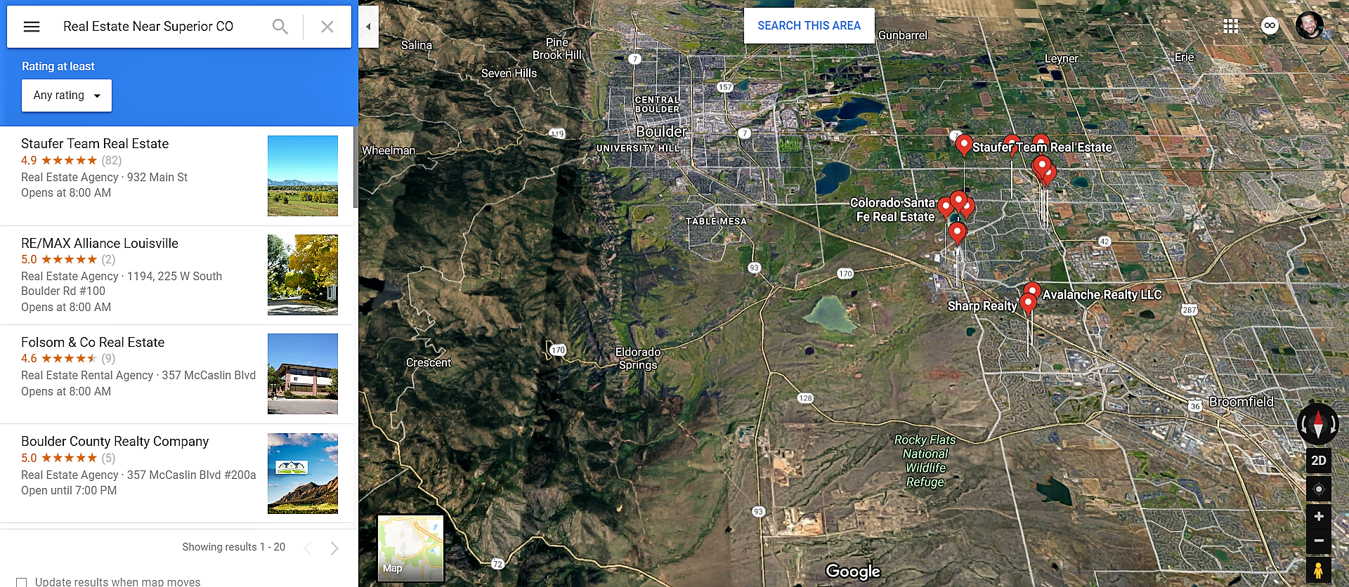 Superior Colorado Google Maps Real Estate Realtors and Mortgage Loans
