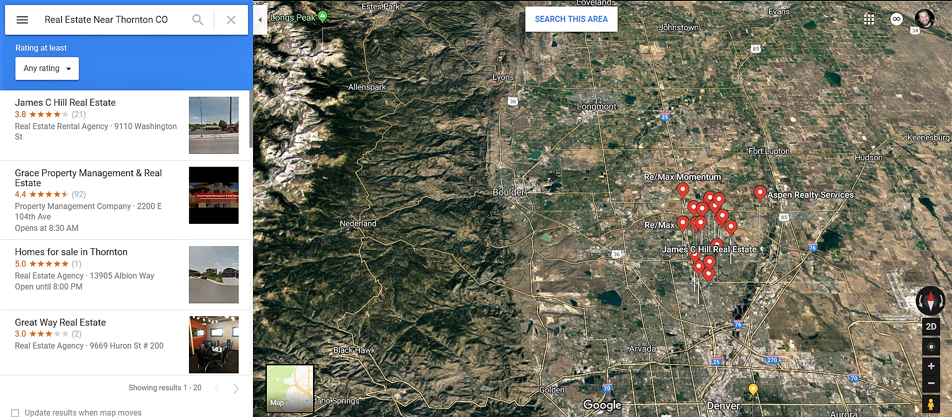 Thornton Colorado Google Maps Real Estate Realtors and Mortgage Loans