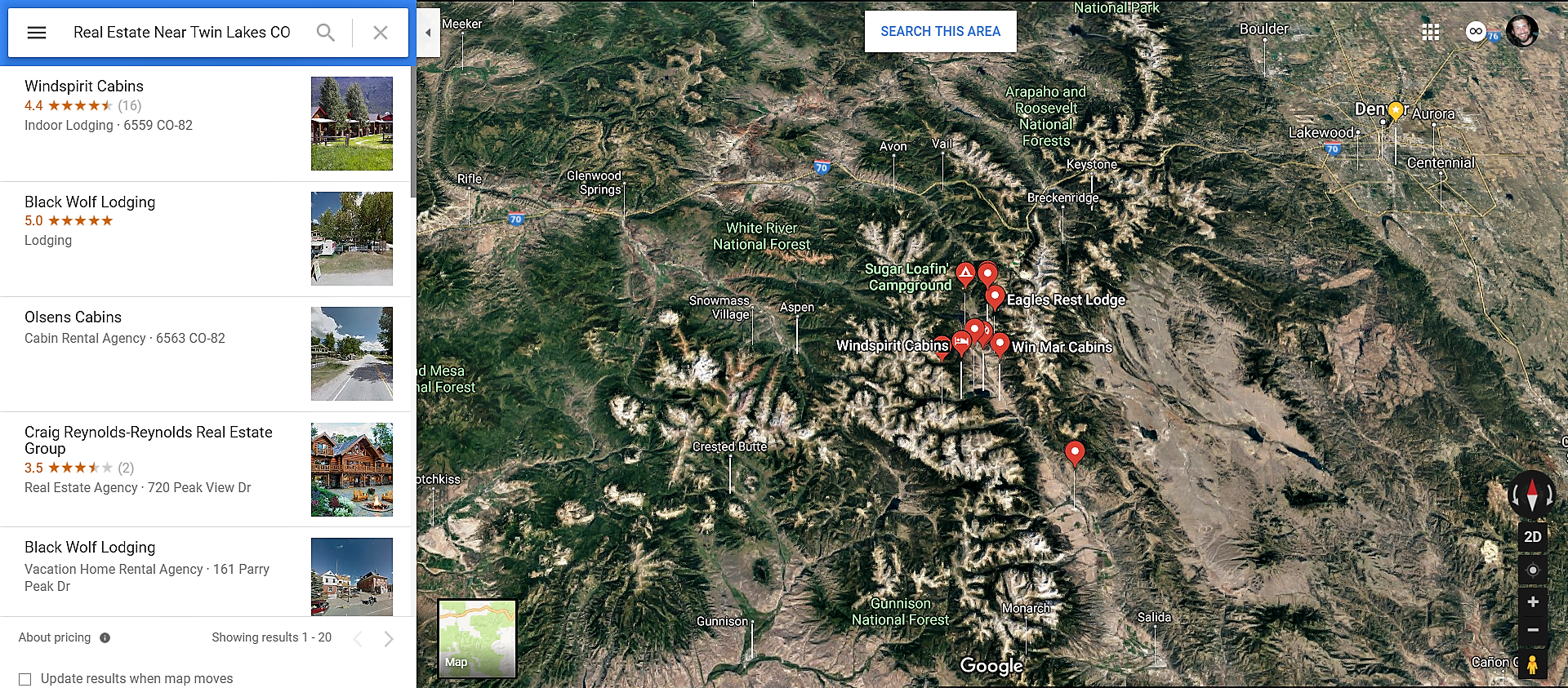 Twin Lakes Colorado Google Maps Real Estate Realtors and Mortgage Loans